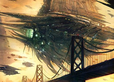 resistance, Invasion, futuristic, bridges, spaceships, artwork, vehicles - desktop wallpaper