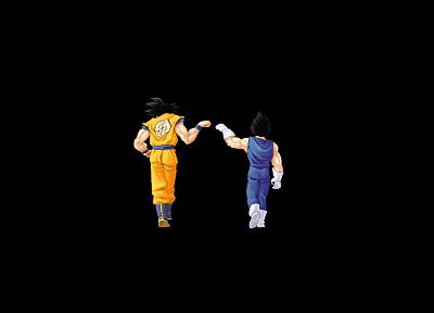 Dragon Ball Z, black background, fist bump - duplicate desktop wallpaper
