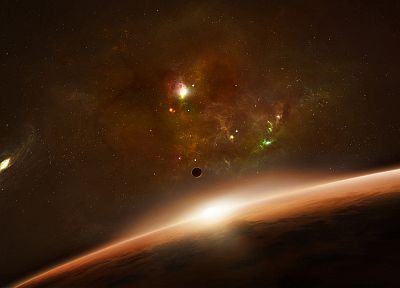sunrise, outer space, planets - random desktop wallpaper