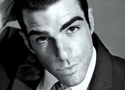 monochrome, Zachary Quinto, faces, greyscale - desktop wallpaper