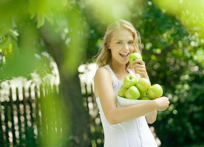 women, dress, fences, green apples, apples, picket fence - random desktop wallpaper