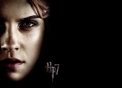 Emma Watson, Harry Potter, Harry Potter and the Deathly Hallows, Hermione Granger, black background - desktop wallpaper