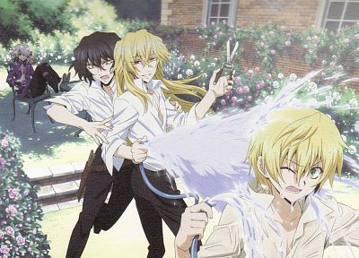 water, scissors, outdoors, Pandora Hearts, anime, anime boys, Gilbert Nightray, Oz Vessalius, Xerxes Break, hose (garden), Vincent Nightray - related desktop wallpaper