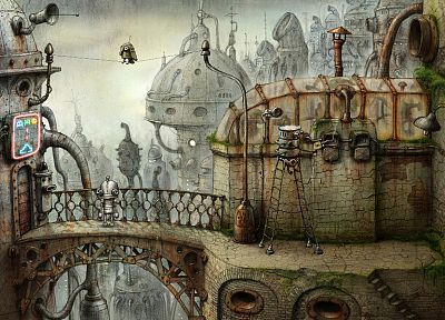fantasy, surreal, Machinarium, Robot City - random desktop wallpaper