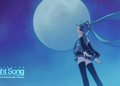 Vocaloid, Hatsune Miku, thigh highs, twintails, detached sleeves, hair ornaments, skies - desktop wallpaper