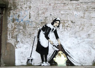maids, Banksy, brooms, street art, brick wall - desktop wallpaper