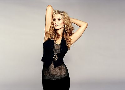 blondes, Delta Goodrem, Australian, grey background - random desktop wallpaper