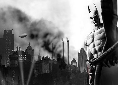 Batman, video games, monochrome, Arkham City, Batman Arkham City - random desktop wallpaper