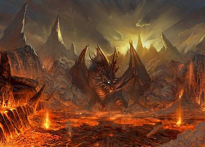 video games, mountains, wings, red, dragons, orange, lava, fantasy art, artwork, Lineage 2, Valakas - related desktop wallpaper