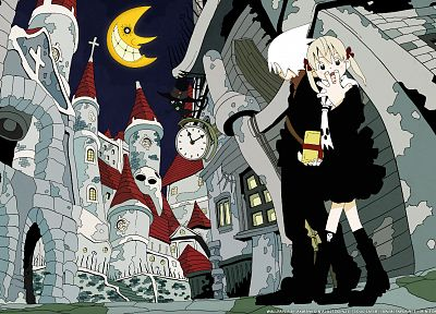 Soul Eater, Moon, Albarn Maka, Soul Eater Evans, couple - related desktop wallpaper