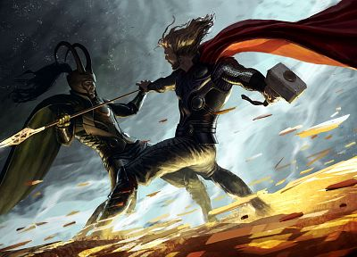 Thor, fight, hammer, artwork, Marvel Comics, spears, Loki, Mjolnir, sceptres - desktop wallpaper