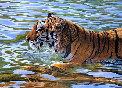 water, animals, tigers, artwork - related desktop wallpaper