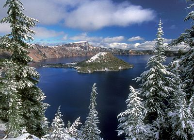 landscapes, nature, winter, crater lake - desktop wallpaper