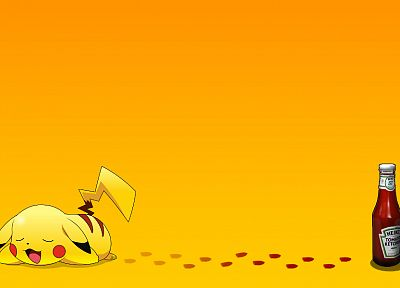 Pokemon, ketchup, Pikachu, tomatoes - desktop wallpaper