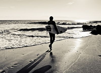 surfing, monochrome, surfers, beaches - related desktop wallpaper