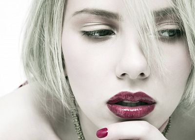 blondes, women, Scarlett Johansson, actress, lips, faces, pale skin, white background - related desktop wallpaper