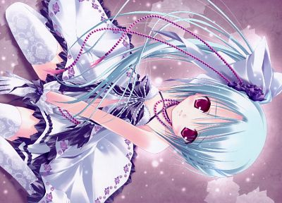 blue hair, red eyes, tights, pink eyes, white gloves, Tinkle Illustrations, anime girls - desktop wallpaper