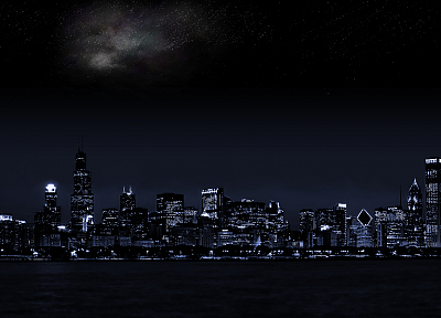 cityscapes, stars, architecture, buildings, city lights, cities - desktop wallpaper
