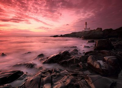 sunset, ocean, landscapes, nature, lighthouses, beaches - related desktop wallpaper