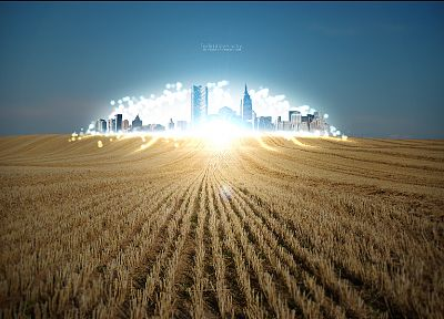 light, cityscapes, lights, architecture, fields, wheat, buildings, cities - related desktop wallpaper