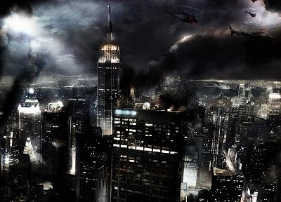 cityscapes, helicopters, fire, smoke, Chaos, urban, New York City, vehicles - desktop wallpaper