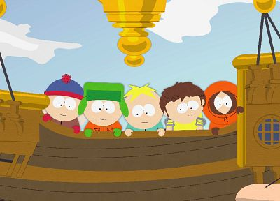 South Park, boats, Stan Marsh, Kenny McCormick, Kyle Broflovski, Butters Stotch - newest desktop wallpaper