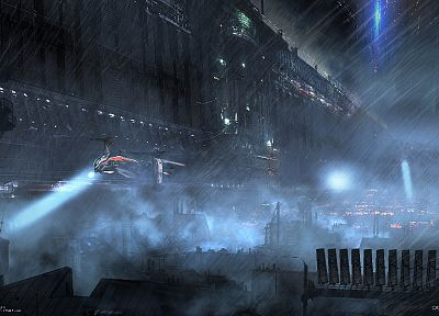Paris, cityscapes, rain, helicopters, futuristic, pris, artwork, Remember Me - desktop wallpaper