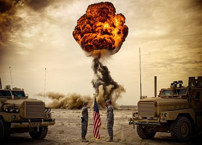 army, explosions, flags, US Army - random desktop wallpaper