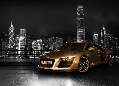 skylines, cars, Audi, Hong Kong, vehicles, selective coloring, Audi R8, German cars - related desktop wallpaper