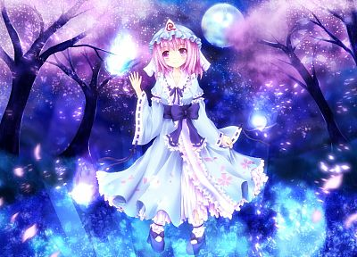 Touhou, cherry blossoms, dress, Saigyouji Yuyuko, Japanese clothes, games - desktop wallpaper