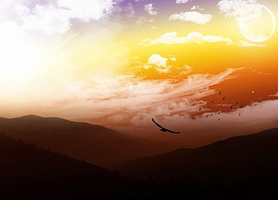 mountains, clouds, landscapes, Sun, birds, skyscapes - related desktop wallpaper