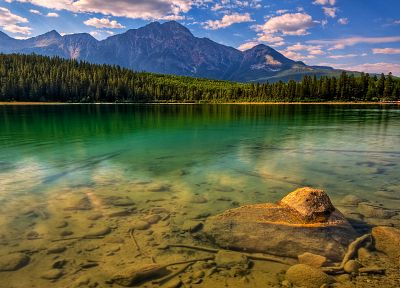 water, mountains, clouds, landscapes, nature, trees, forests, skyscapes - desktop wallpaper