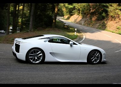 white, turn, Lexus LFA - random desktop wallpaper