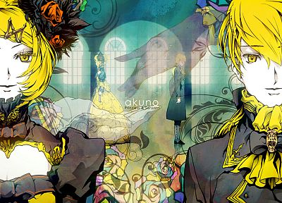 blondes, Vocaloid, dress, flowers, cleavage, twins, Kagamine Rin, Kagamine Len, short hair, yellow eyes, bows, medieval, anime boys, yellow dress, roses, anime girls, faces, siblings, stained glass, hair ornaments, Daughter Of Evil, hair pins, flower in h - related desktop wallpaper