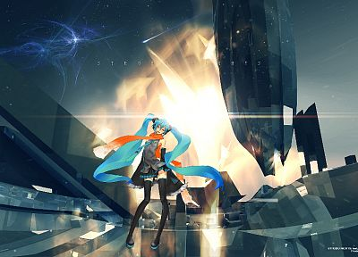 women, Vocaloid, Hatsune Miku, long hair, twintails, Redjuice, anime girls, detached sleeves - related desktop wallpaper