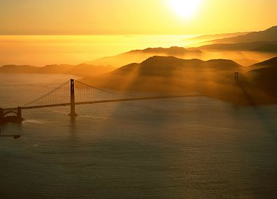 landscapes, Sun, bridges, Golden Gate Bridge, sea - random desktop wallpaper