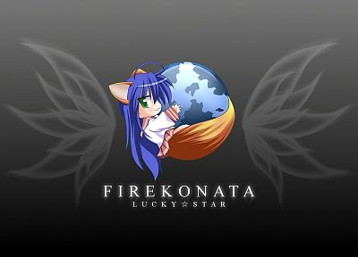 Lucky Star, school uniforms, Firefox, simple background, Izumi Konata - random desktop wallpaper
