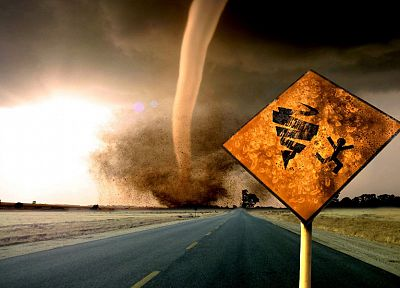 landscapes, nature, destruction, tornadoes, roads - desktop wallpaper