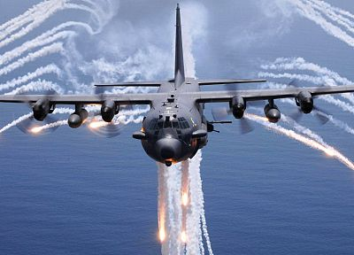 aircraft, AC-130 Spooky/Spectre, flares, contrails - related desktop wallpaper