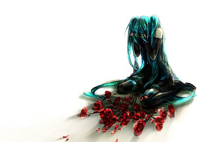 Vocaloid, flowers, Hatsune Miku, long hair, lonely, flower petals, roses, anime girls, detached sleeves - related desktop wallpaper
