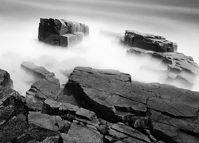 landscapes, rocks, fog, grayscale, monochrome - desktop wallpaper