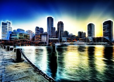 cityscapes, Fractalius, buildings - desktop wallpaper