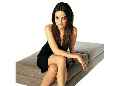 women, Mila Kunis, actress, celebrity, black dress, white background - desktop wallpaper