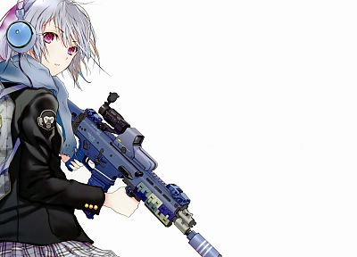 headphones, rifles, guns, military, school uniforms, schoolgirls, scars, girls with guns, Fuyuno Haruaki, eotech, simple background, anime girls - related desktop wallpaper