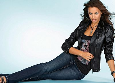 brunettes, women, jeans, blue eyes, celebrity, Irina Shayk - related desktop wallpaper