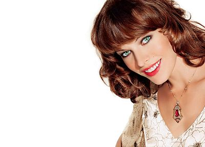brunettes, women, actress, smiling, necklaces, Milla Jovovich - random desktop wallpaper