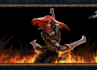 women, fire, redheads, League of Legends, artwork, Katarina the Sinister Blade, blades, black background - related desktop wallpaper