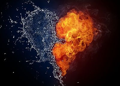 water, flames, fire, hearts, black background - related desktop wallpaper