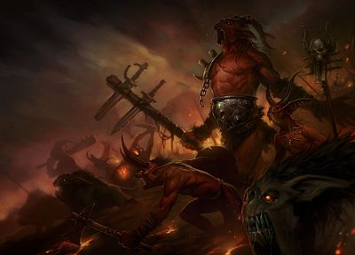 video games, demons, horns, battles, artwork, Diablo III, long ears - desktop wallpaper