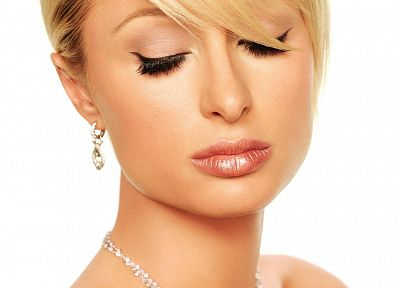 blondes, women, Paris Hilton, closed eyes, simple background, white background - related desktop wallpaper